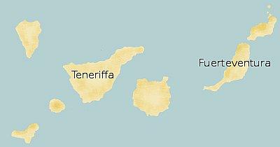 Übersichtskarte Fuerteventura und Teneriffa